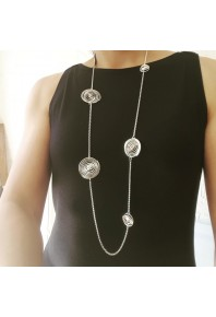 """Q"" Silver 5 Q 38"" Full Necklace"