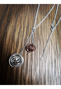 """Q"" Silver Double Pendant with  9ct Rose Gold Q"