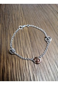 """Q"" Silver 3 Mini Q Bracelet with 9ct Rose Gold Mini Q"