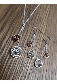 """Q"" Silver Mini Q Double Drops On Chain with 9ct Rose Gold Q"