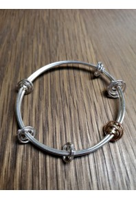 """Q"" Silver 6 Q Bangle With 9ct Rose Gold Q"
