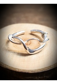 Torque Silver Double Twisted Ring With Rose Gold