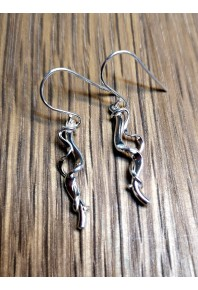 Torque Silver Short Double Earrings