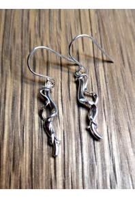 Torque Silver Short Double Earrings