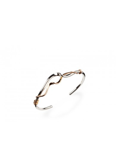 Torque Silver Double Twisted Cuff Bangle + Red Gold