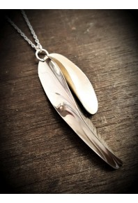 "Chilli 17 Silver Double Small+Large Pendant with 32"" Silver Chain"