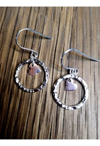 Plannished Hearts Silver And Rose Gold Two Piece Earrings