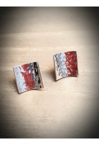 Reflections Silver Hammered Large Stud Earrings