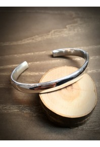 8mm Oval Silver Polish Cuff Bangle