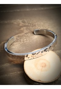 8mm Wide Flat Silver Texture Cuff Bangle