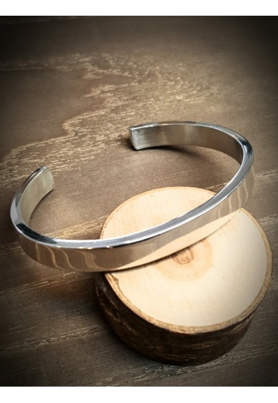 12.5mm Wide Flat Silver Satin Cuff Bangle
