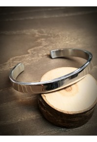 9.5mm Wide Flat Silver Polish Cuff Bangle